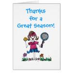 Chica del tenis del palillo felicitación