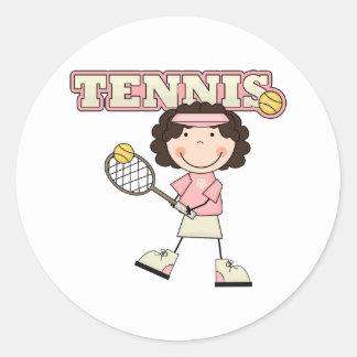 Chica del tenis etiqueta redonda