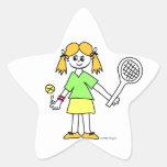 Chica del tenis pegatinas forma de estrella personalizadas