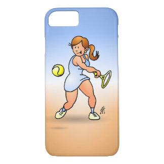 Chica del tenis que golpea un revés funda iPhone 7