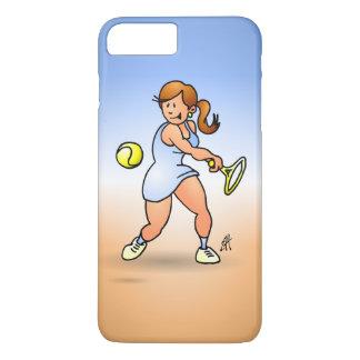 Chica del tenis que golpea un revés funda iPhone 7 plus