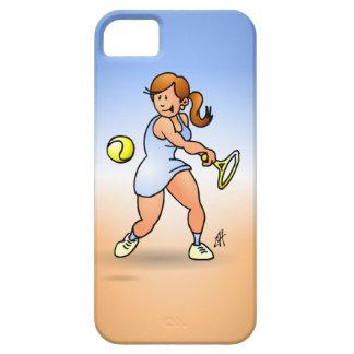 Chica del tenis que golpea un revés funda para iPhone SE/5/5s