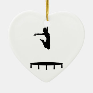 Chica del trampolín adorno navideño de cerámica en forma de corazón