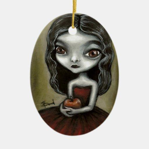 chica del vampiro adorno navideño ovalado de cerámica