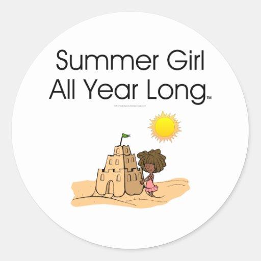 Chica del verano de la CAMISETA Pegatina Redonda