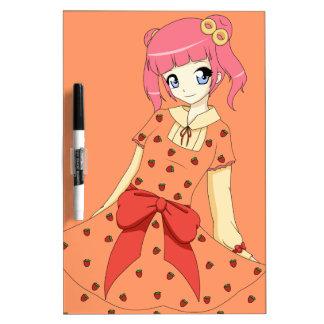Chica del vestido de la fresa del animado pizarra