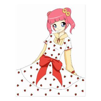 Chica del vestido de la fresa del animado tarjetas postales