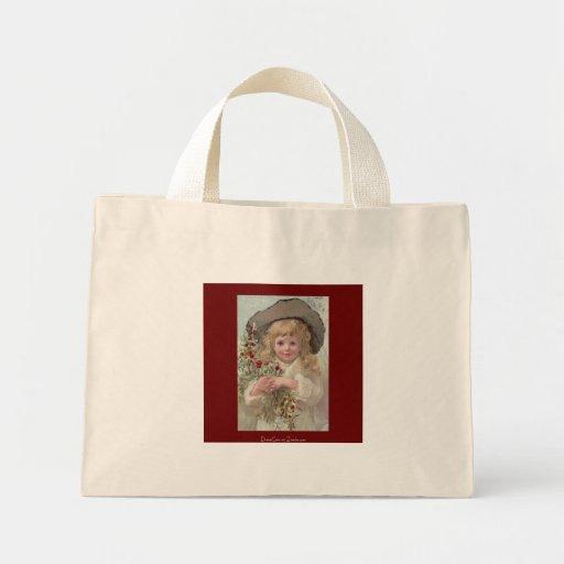 Chica del Victorian con acebo del navidad Bolsas