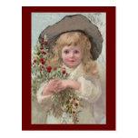 Chica del Victorian con acebo del navidad Postal