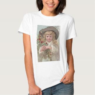 Chica del Victorian con acebo del navidad Remera