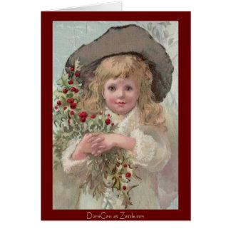 Chica del Victorian con acebo del navidad Tarjeta De Felicitación
