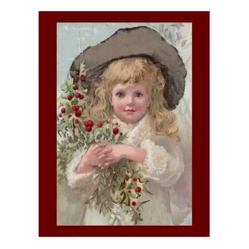 Chica del Victorian con acebo del navidad Tarjetas Postales