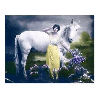 chica del victorian con el caballo blanco tarjetas postales