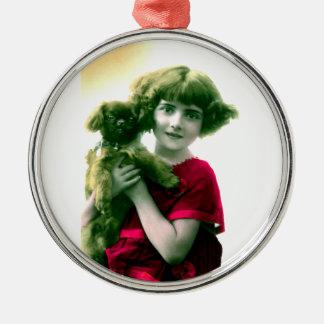 Chica del Victorian con el ornamento del perro Ornamentos De Reyes Magos