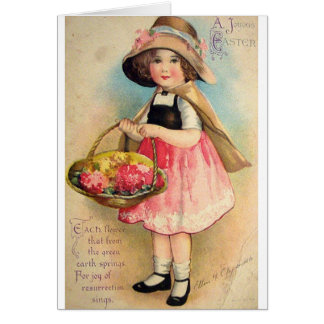 Chica del Victorian con la tarjeta de pascua de la
