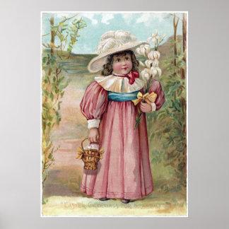 Chica del Victorian con los lirios de pascua para  Póster
