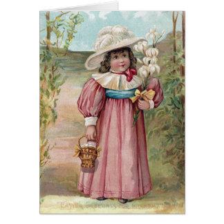 Chica del Victorian con los lirios de pascua para Tarjeta De Felicitación
