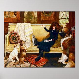 Chica del Victorian con los mascotas Póster