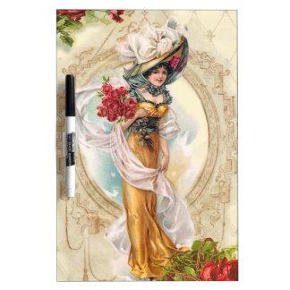 Chica del Victorian con los rosas rojos Pizarras Blancas