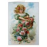 Chica del Victorian de los rosas de los saludos de