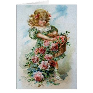 Chica del Victorian de los rosas de los saludos de Tarjeta De Felicitación