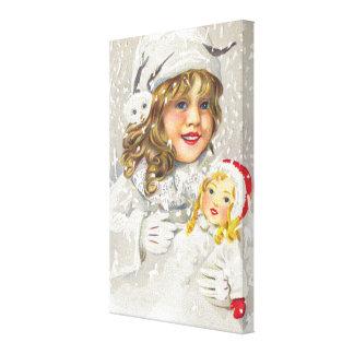 Chica del Victorian del navidad del vintage con la Impresiones En Lona Estiradas