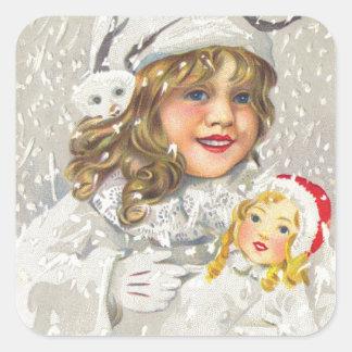 Chica del Victorian del navidad del vintage con la Pegatina Cuadradas Personalizada