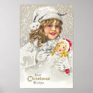 Chica del Victorian del navidad del vintage con la Póster