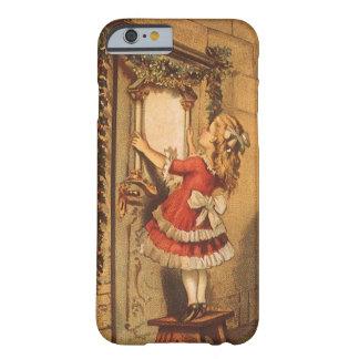 Chica del Victorian del navidad del vintage que Funda De iPhone 6 Barely There