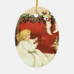 Chica del Victorian del vintage de la mañana de na Ornamentos Para Reyes Magos