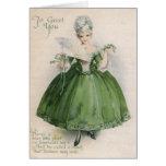 Chica del Victorian del vintage en el día C de St  Tarjeta De Felicitación