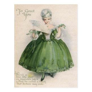 Chica del Victorian del vintage en el día C de St Tarjetas Postales