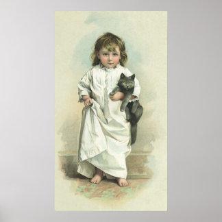 Chica del Victorian del vintage en un camisón con Posters