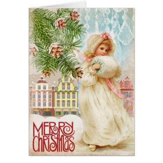 Chica del Victorian en tarjeta de Navidad del