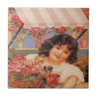 Chica del Victorian que vende las flores Azulejo Cuadrado Pequeño