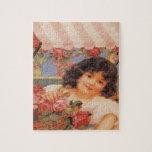 Chica del Victorian que vende las flores Puzzle