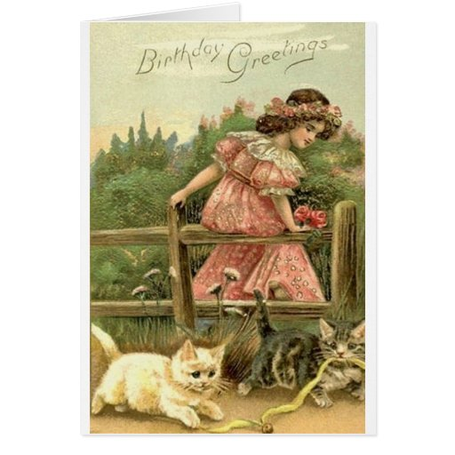 Chica del Victorian y tarjeta de cumpleaños de los