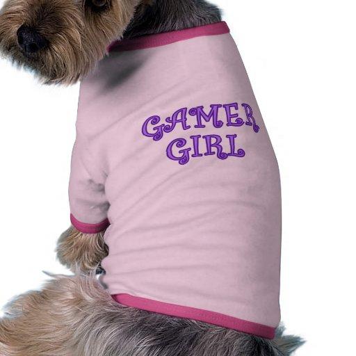 Chica del videojugador camiseta con mangas para perro