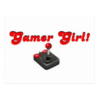 Chica del videojugador tarjeta postal
