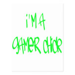 Chica del videojugador (verde) postal