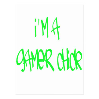 Chica del videojugador verde postal