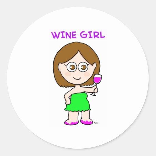 chica del vino pegatina redonda