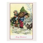 Chica del vintage, árbol de navidad del muchacho postales