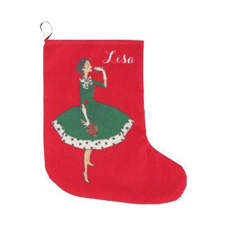 Chica del vintage calcetín navideño grande