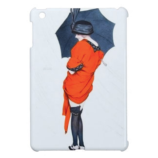 Chica del vintage con caso del iPad del paraguas e iPad Mini Funda