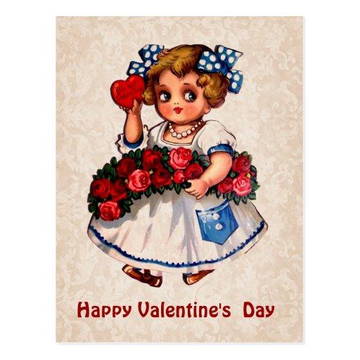 Chica del vintage con el arco, los rosas y el postales
