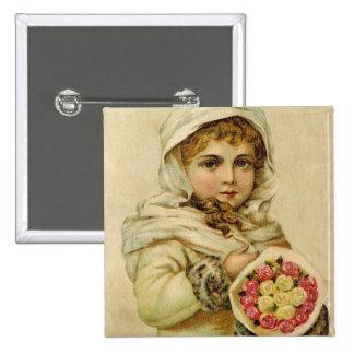 Chica del vintage con el botón de los rosas de inv pin