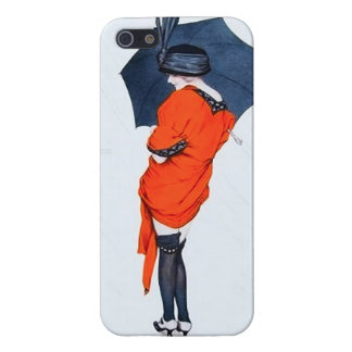 Chica del vintage con el caso del iPhone 5 del par iPhone 5 Fundas