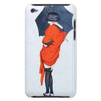 Chica del vintage con el caso del tacto de iPod de iPod Touch Protector