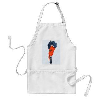 Chica del vintage con el delantal del paraguas